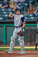 Cal Raleigh (29) of the Tacoma Rainiers on defense against the Salt Lake Bees at Smith's Ballpark on May 13, 2021 in Salt Lake City, Utah. The Rainiers defeated the Bees 15-5. (Stephen Smith/Four Seam Images)
