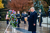 President Donald J. Trump participates in a Presidential Armed Forces Full Honor Wreath-Laying Ceremony at the Tomb of the Unknown Soldier; Arlington National Cemetery, Arlington, Virginia, November 11, 2020. The wreath was laid as part of the nation's 67th Veterans Day Observance. (U.S. Army photo by Elizabeth Fraser / Arlington National Cemetery / released)