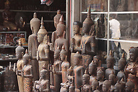 Siem Reap, Cambodia - 2007 File Photo -<br /> <br /> carved wood bouddhas,<br /> <br /> photo : James Wong-  Images Distribution