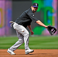 22 April 2010: Colorado Rockies' first baseman Todd Helton warms up prior to a game against the Washington Nationals at Nationals Park in Washington, DC. The Rockies shut out the Nationals 2-0 gaining a 2-2 series split. Mandatory Credit: Ed Wolfstein Photo