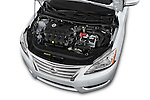 Car Stock2014 Nissan Sentra SV 4 Door Sedan Engine high angle detail view