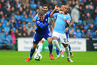Danny Ward of Cardiff City vies for possession with Fernandinho of Manchester City during the Premier League match between Cardiff City and Manchester City at Cardiff City Stadium on  in Cardiff, Wales, UK. Saturday 22 September 2018
