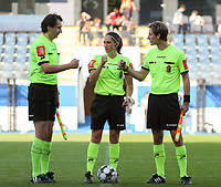 Rreferees giving each other a fist bump before a female soccer game between Oud Heverlee Leuven and Standard Femina de Liege on the third matchday of the 2021 - 2022 season of Belgian Womens Super League , Sunday 5 th of September 2021  in Leuven , Belgium . PHOTO SPORTPIX.BE   SEVIL OKTEM