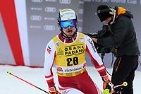 21st December 2020; Alta Badia Ski Resort, Dolomites, Italy; International Ski Federation World Cup Slalom Skiing; Manuel Feller AUT comes through the finish gate