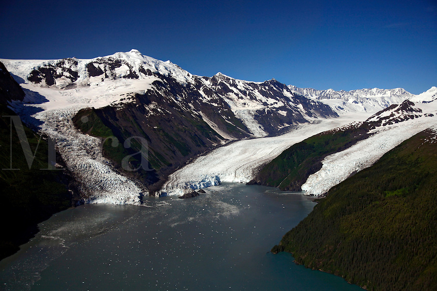 Aerial Cascade Glacier (L), Barry Glacier (C) and Coxe Glacier (R), Harriman Fiord, Prince William Sound, Chugach National Forest, Alaska.