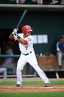 Harrisburg Senators third baseman Adrian Sanchez (7) at bat during a game against the New Hampshire Fisher Cats on June 2, 2016 at FNB Field in Harrisburg, Pennsylvania.  New Hampshire defeated Harrisburg 2-1.  (Mike Janes/Four Seam Images)