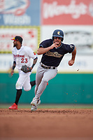 Scranton/Wilkes-Barre RailRiders Mike Tauchman (12) running the bases during an International League game against the Rochester Red Wings on June 24, 2019 at Frontier Field in Rochester, New York.  Rochester defeated Scranton 8-6.  (Mike Janes/Four Seam Images)