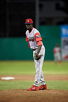 Williamsport Crosscutters relief pitcher Oscar Marcelino (40) looks in for the sign during a game against the Batavia Muckdogs on June 21, 2018 at Dwyer Stadium in Batavia, New York.  Batavia defeated Williamsport 6-5.  (Mike Janes/Four Seam Images)