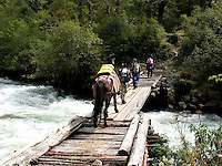 Crossing the Paro river in the mountains of Bhutan