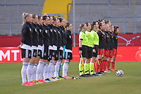 line up of both teams  pictured during a friendly female soccer game between the national teams of Germany and  Belgium , called the Red Flames  in a pre - bid tournament called Three Nations One Goal with the national teams from Belgium , The Netherlands and Germany towards a bid for the hosting of the 2027 FIFA Women's World Cup , on Sunday 21 st of February 2021  in Aachen , Germany . PHOTO SPORTPIX.BE   SPP   STIJN AUDOOREN