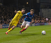 Fleetwood Town's Lewis Coyle (left) battles with Portsmouth's Tom Naylor (right) <br /> <br /> Photographer David Horton/CameraSport<br /> <br /> The EFL Sky Bet League One - Portsmouth v Fleetwood Town - Tuesday 10th March 2020 - Fratton Park - Portsmouth<br /> <br /> World Copyright © 2020 CameraSport. All rights reserved. 43 Linden Ave. Countesthorpe. Leicester. England. LE8 5PG - Tel: +44 (0) 116 277 4147 - admin@camerasport.com - www.camerasport.com