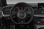 Car pictures of steering wheel view of a 2018 Audi A7 Premium Plus 5 Door Hatchback