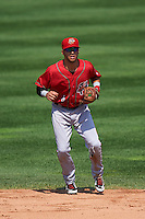 Harrisburg Senators second baseman Reegie Corona (6) during a game against the Erie Seawolves on August 30, 2015 at Jerry Uht Park in Erie, Pennsylvania.  Harrisburg defeated Erie 4-3.  (Mike Janes/Four Seam Images)