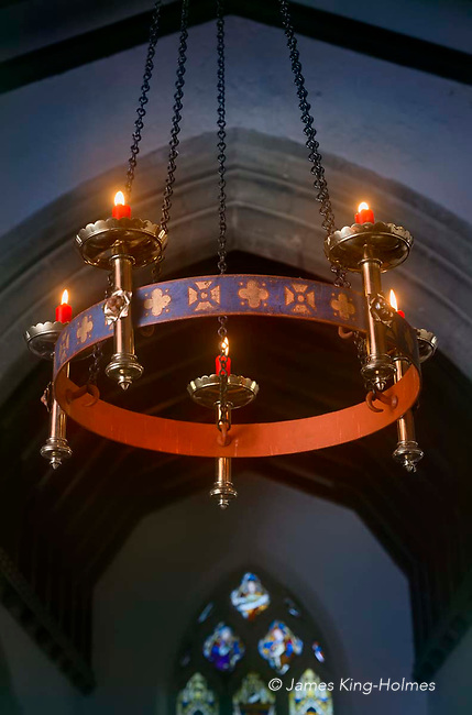 Candelabrum designed by Augustus Pugin, in the only Protestant church he designed, in the village of Tubney, Oxfordshire.