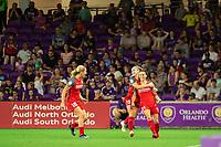 Orlando, FL - Saturday August 11, 2018:  Portland Thorns celebrate a goal, Orlando Pride vs Portland Timbers at Orlando City Stadium.