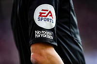 11th September 2021; Selhurst Park, Crystal Palace, London, England;  Premier League football, Crystal Palace versus Tottenham Hotspur: No Room For Racism on the sleeve of the linesmen shirt