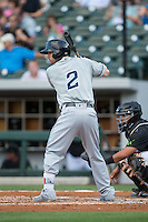 Collin Cowgill (2) of the Columbus Clippers at bat against the Charlotte Knights at BB&T BallPark on May 3, 2016 in Charlotte, North Carolina.  The Clippers defeated the Knights 8-3.  (Brian Westerholt/Four Seam Images)