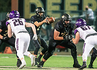 Andrew Edwards (7) of  Bentonville takes the hike against Fayetteville at Tigers Stadium, Bentonville, Arkansas on Friday, October 16, 2020 / Special to NWA Democrat-Gazette/ David Beach