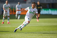 LOS ANGELES, CA - APRIL 17: Daniel Pereira #15 of Austin FC during a game between Austin FC and Los Angeles FC at Banc of California Stadium on April 17, 2021 in Los Angeles, California.