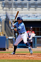 FCL Rays Mike Brosseau (43), on rehab assignment from the Tampa Bay Rays, bats during a game against the FCL Twins on July 20, 2021 at Charlotte Sports Park in Port Charlotte, Florida.  (Mike Janes/Four Seam Images)