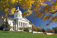 AJ4534, State House, State Capitol, Montpelier, Vermont, The majestic State House is framed with golden maple leaves in autumn in the capital city of Montpelier in the state of Vermont.