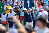 14th March 2021; Ponte Vedra Beach, Florida, USA;  Lee Westwood of England plays a tee shot on the 1st hole during the final round of THE PLAYERS Championship on March 14, 2021 at TPC Sawgrass Stadium Course in Ponte Vedra Beach, Fl.