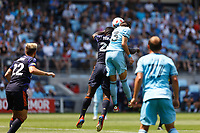 ST PAUL, MN - JULY 18: Adrien Hunou #23 of Minnesota United FC and Yeimar Gomez Andrade #28 of the Seattle Sounders FC battle for the ball during a game between Seattle Sounders FC and Minnesota United FC at Allianz Field on July 18, 2021 in St Paul, Minnesota.