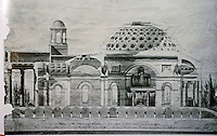Baltimore:  Baltimore Cathedral--cross-section .  A pencil, pen & ink , 1805 by Benjamin Latrobe.  Reference only.