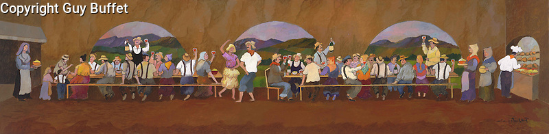 """""""Grape Picker's Dinner""""<br /> Limited Edition Giclee 10x40<br /> SN Canvas $950.<br /> AP Paper w/Original Watercolor Remarque $1,550<br /> *Perfect companion piece to """"Harvest in Bordeaux""""!"""