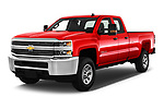 2018 Chevrolet Silverado 2500HD Work Truck Long Box Double Cab 4 Door Pick Up angular front stock photos of front three quarter view