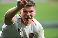 Owen Farrell of England celebrates scoring a try during the Guinness Six Nations match between England and France at Twickenham Stadium on Sunday 10th February 2019 (Photo by Rob Munro/Stewart Communications)