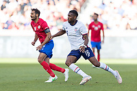 SANDY, UT - JUNE 10: Jordan Siebatcheu #16 of the United States during a game between Costa Rica and USMNT at Rio Tinto Stadium on June 10, 2021 in Sandy, Utah.