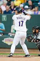 Rangel Ravelo (17) of the Winston-Salem Dash at bat against the Carolina Mudcats at BB&T Ballpark on July 25, 2013 in Winston-Salem, North Carolina.  The Mudcats defeated the Dash 5-4.  (Brian Westerholt/Four Seam Images)