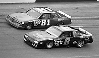 Rick Wilson (6) and David Sosebee (81) side by side during a preliminary ARCA race before the Atlanta Journal 500 at Atlanta International Raceway on November 11, 1984. (Photo by Brian Cleary/www.bcpix.com)