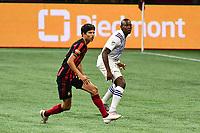 ATLANTA, GA - AUGUST 29: Jurgen Damm #22 of Atlanta United follows the play during a game between Orlando City SC and Atlanta United FC at Marecedes-Benz Stadium on August 29, 2020 in Atlanta, Georgia.