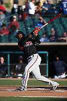 Ruddy Giron (12) of the Lake Elsinore Storm bats against the Lancaster JetHawks at The Hanger on June 12, 2017 in Lancaster, California. Lancaster defeated Lake Elsinore, 13-6. (Larry Goren/Four Seam Images)