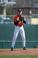 Illinois Fighting Illini starting pitcher ColeKirschsieper (27) comes to a set position during the game against the West Virginia Mountaineers at TicketReturn.com Field at Pelicans Ballpark on February 23, 2020 in Myrtle Beach, South Carolina. The Fighting Illini defeated the Mountaineers 2-1.  (Brian Westerholt/Four Seam Images)
