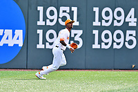 University of Tennessee left fielder Alerick Soularie (1) tracks a fly ball during a game against Western Illinois at Lindsey Nelson Stadium on February 15, 2020 in Knoxville, Tennessee. The Volunteers defeated Leathernecks 19-0. (Tony Farlow/Four Seam Images)