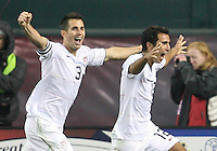 Carlos Bocanegra #3 and Jonathan Bornstein #12 of the USA after Bornstein had scored the tying goal against Costa Rica during a 2010 World Cup qualifying match in the CONCACAF region at RFK Stadium on October 14 2009, in Washington D.C.The match ended in a 2-2 tie.