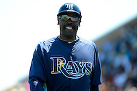 Tampa Bay Rays first base coach George Hendrick #25 during a Spring Training game against the Detroit Tigers at Joker Marchant Stadium on March 29, 2013 in Lakeland, Florida.  (Mike Janes/Four Seam Images)