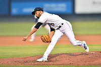Asheville Tourists pitcher Yeremi Ceballos (21) delivers a pitch during a game against the Bowling Green Hot Rods on May 25, 2021 at McCormick Field in Asheville, NC. (Tony Farlow/Four Seam Images)