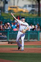 Inland Empire 66ers third baseman Jordan Zimmerman (5) during a California League game against the Modesto Nuts on April 10, 2019 at San Manuel Stadium in San Bernardino, California. Inland Empire defeated Modesto 5-4 in 13 innings. (Zachary Lucy/Four Seam Images)