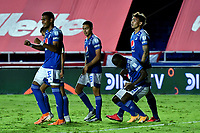 CALI – COLOMBIA, 07-11-2020: Eliser Quiñones del Millonarios celebra después de anotar el segundo gol de su equipo durante el partido entre América de Cali y Millonarios FC por la fecha 18 de la Liga BetPlay DIMAYOR I 2020 jugado en el estadio Pascual Guerrero de la ciudad de Cali. / Eliser Quiñones of Millonarios celebrates after scoring the second goal of his team during match between America de Cali and Millonarios FC  for the date 18 as part of BetPlay DIMAYOR League I 2020 played at the Pascual Guerrero stadium in Cali city. Photos: VizzorImage / Nelson Rios / Cont