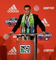 Mike Seamon of Villanova speaks after being the 27th overall pick of  the MLS Superdraft by the Seattle Sounders at the Pennsylvania Convention Center in Philadelphia, PA.