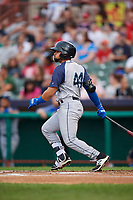 Brooklyn Cyclones second baseman Carlos Cortes (44) follows through on a swing during a game against the Tri-City ValleyCats on August 21, 2018 at Joseph L. Bruno Stadium in Troy, New York.  Tri-City defeated Brooklyn 5-2.  (Mike Janes/Four Seam Images)