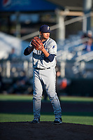 Tri-City Dust Devils relief pitcher Wen-Hua Sung (50) gets ready to deliver a pitch during a Northwest League game against the Everett AquaSox at Everett Memorial Stadium on September 3, 2018 in Everett, Washington. The Everett AquaSox defeated the Tri-City Dust Devils by a score of 8-3. (Zachary Lucy/Four Seam Images)