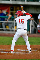 Connor Justus (16) of the Orem Owlz at bat against the Grand Junction Rockies in Pioneer League action at Home of the Owlz on July 6, 2016 in Orem, Utah. The Rockies defeated the Owlz 5-4 in Game 2 of the double header.  (Stephen Smith/Four Seam Images)