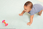 6 month old baby girl crawling toward toy