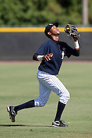 New York Yankees minor league shortstop Fernando J. Perez vs. the Pittsburgh Pirates in an Instructional League game at the New York Yankees Minor League Complex in Tampa, Florida;  October 8, 2010.  Photo By Mike Janes/Four Seam Images