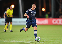 LAKE BUENA VISTA, FL - AUGUST 01: Alexander Ring #8 of New York City FC passes the ball during a game between Portland Timbers and New York City FC at ESPN Wide World of Sports on August 01, 2020 in Lake Buena Vista, Florida.